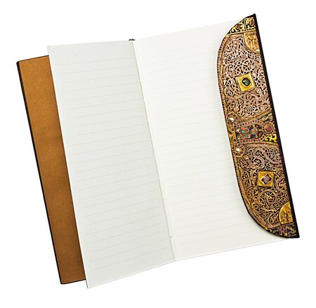 Opened note book on white background Stock Photo - 13476219