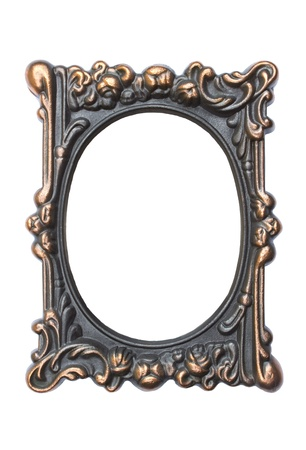 Ornate vintage frame isolated on white background Stock Photo