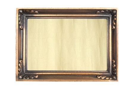 Ornate vintage frame isolated on white background, aged paper in a metal frame   photo
