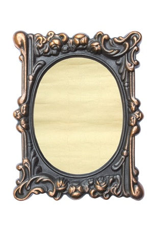Ornate vintage frame isolated on white background Aged paper in a metal frame   photo