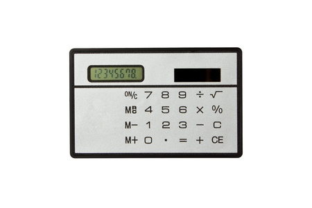 A grey calculator isolated on a white background, calculator Stock Photo - 13998346