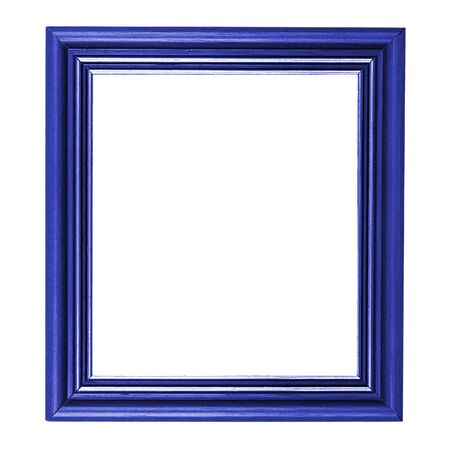 Classic blue wooden frame isolated on white background Stock Photo - 14295978