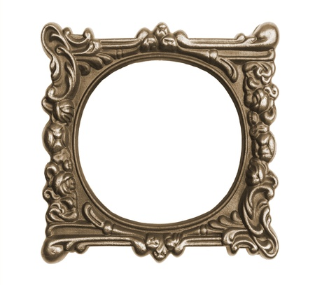 Ornate vintage frame isolated on white background photo