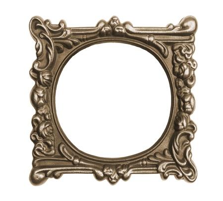 spiegelbeeld: Sierlijke vintage frame geïsoleerd op witte achtergrond
