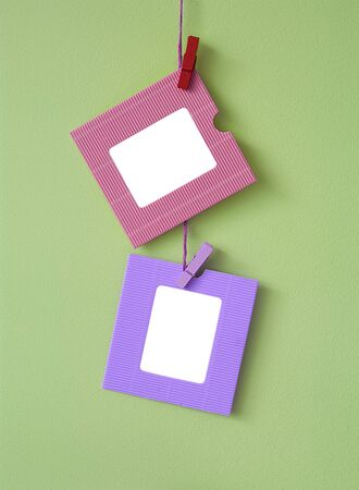 2 Paper Frames On The Wall Background Stock Photo, Picture And ...