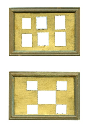 2 old wooden frames on white with clipping path  photo