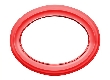red oval frame isolated on white background photo