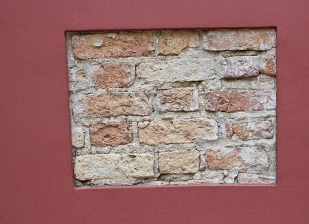 brick wall background in red frame  photo