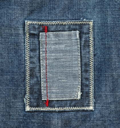 Blank blue jeans label close-up photo