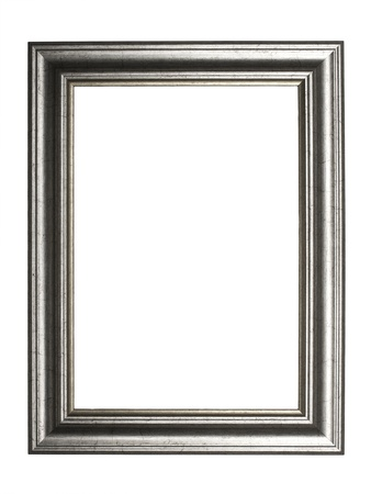 silver picture frame, isolated on white background