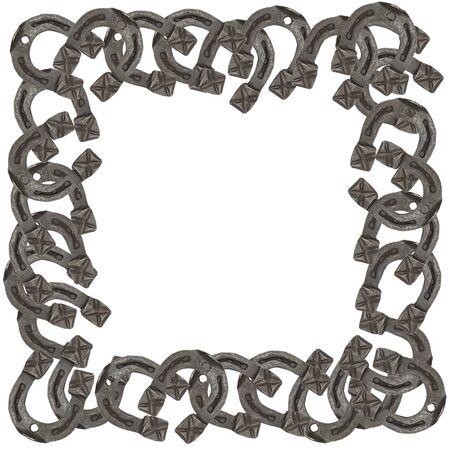 mojo: frame of horseshoes isolated on white background
