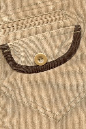 trouser: Fragment of pocket, Trouser pocket of brown corduroys.
