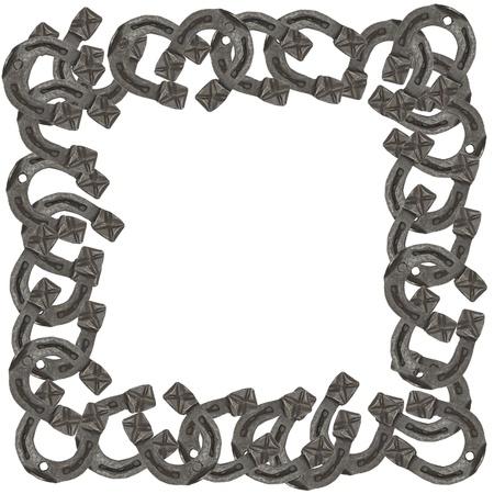 frame of horseshoes isolated on white background photo