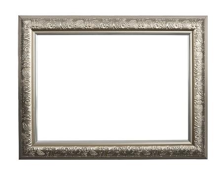 marcos decorados: Marco de plata Vintage, marco de plata izolated sobre fondo blanco