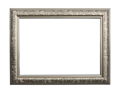 Vintage silver frame, silver frame izolated on white background