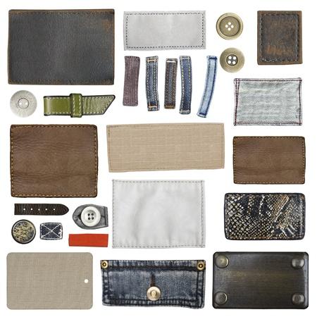 etiquetas de ropa: Etiqueta de los pantalones vaqueros de cuero en blanco, aislados Foto de archivo