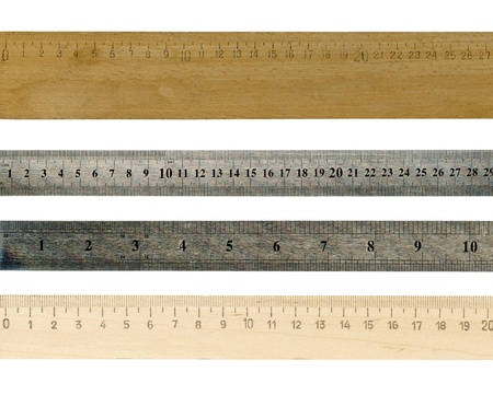 ruler: A wooden  and Steel rulers isolated over a white background