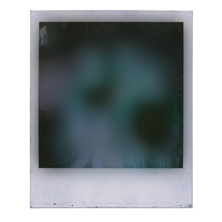 instant film transfer: Designed grungy instant film frame with abstract filling isolated on white