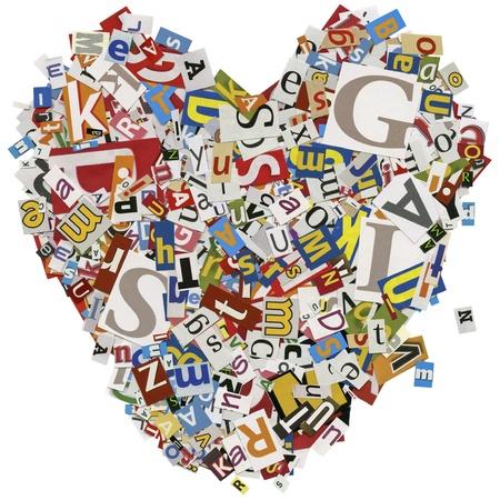 clippings: Dise�ado fondo. Collage hecho de recortes de peri�dicos. amor, coraz�n.