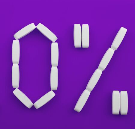 White pills laid out in the form  of zero percent on violet background photo