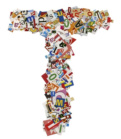 Collage made of newspaper clipping, letters, ABC,  Stock Photo