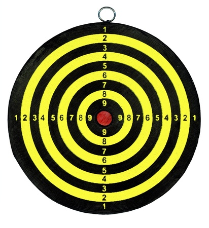 boring frame: target isolated on white background, dartboard close up