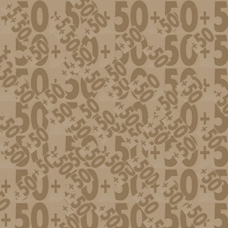 50 numbers background, brown, Designed background. Collage made of newspaper clippings.