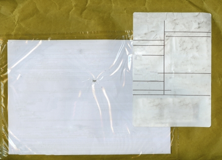 distribution board: packet with blank label for address and notes, close up