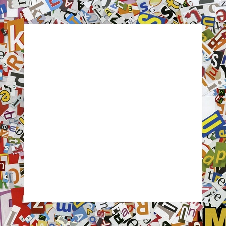 clippings: Designed frame. Collage made of newspaper clippings. Stock Photo