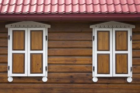 Vintage windows on wooden wall  photo