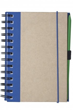 notebook made of recycled paper isolated on white background with green pencil