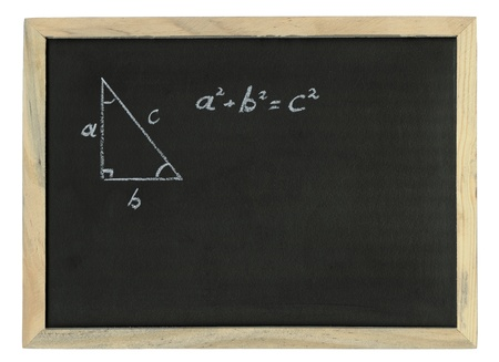 Pythagoras rule explained drawn in chalk, Pythagorean theorem sketched with white chalk on a chalk board