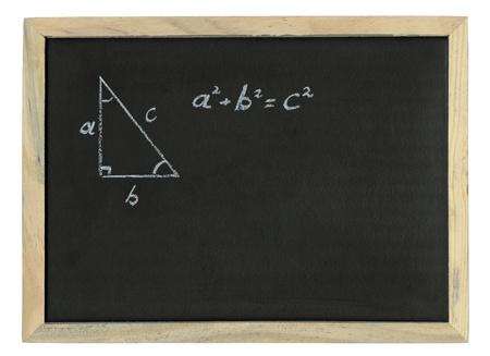 teorema: Regla de Pit�goras explic� elaborado con tiza, el teorema de Pit�goras dibujado con tiza en una pizarra Foto de archivo