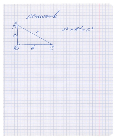 Pythagoras rule explained in the exercise book, Pythagorean theorem sketched on the white squared paper sheet texture or background, isolated, Hand drawn pictures photo