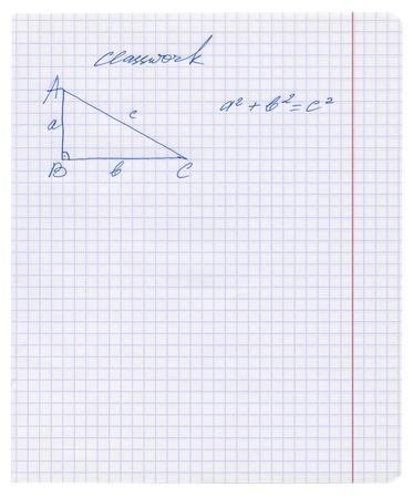 teorema: Regla de Pit�goras se explica en el libro de ejercicios, teorema de Pit�goras esbozado en el blanco cuadrado hoja de papel de textura o el fondo, aislado, dibujos hechos a mano