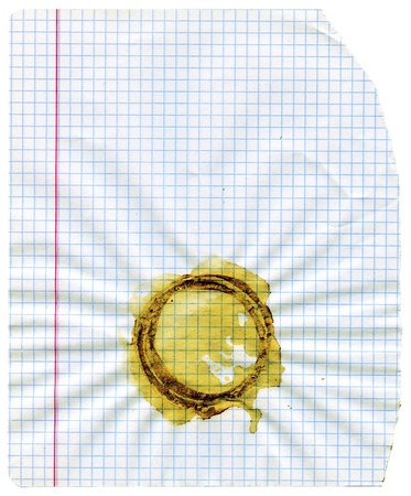 squared: White squared paper sheet texture or background with cup stain