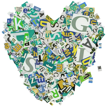 clippings: Designed background. Collage made of newspaper clippings. love, heart.