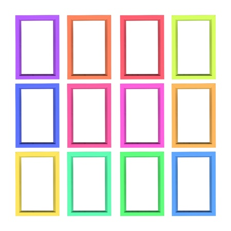 Modern plastic picture frames, isolated on white background  photo