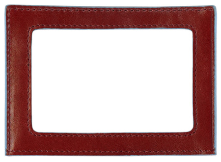leather label: Red leather label, red leather frame, isolated