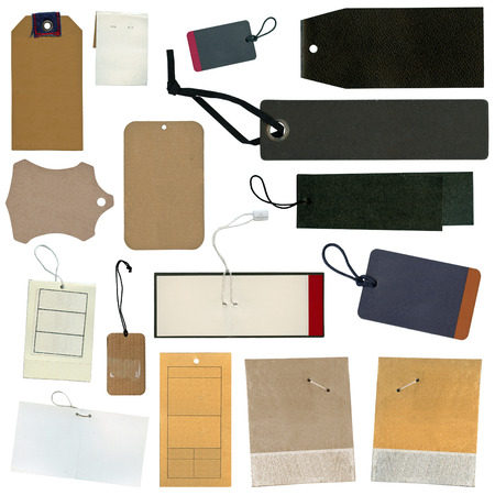 Set of various grungy aged paper tags photo