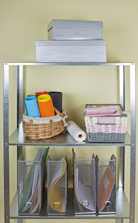 home related: metal shelves with different home related objects