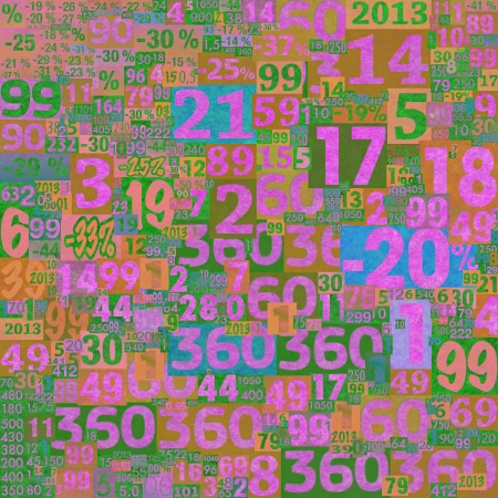 clippings: Pink designed background. Collage of numbers made of newspaper clippings.