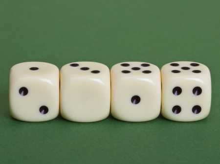 2014 year in dices on a green