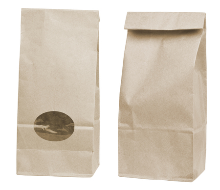 brown disposable paper bags isolated on white background