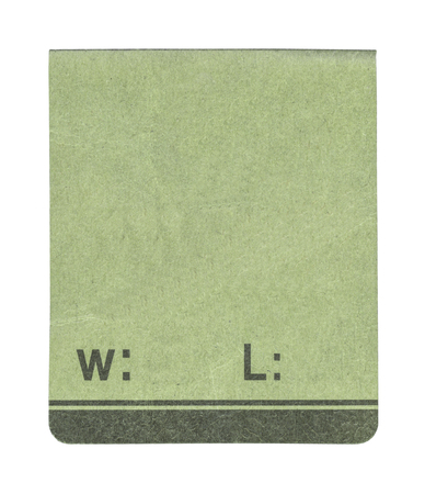 adress: green paper tag on white background Stock Photo