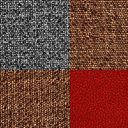fabric textures: the combination of leather and fabric textures Stock Photo
