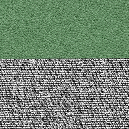 fabric textures: the combination of green leather and gray fabric textures