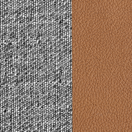 fabric textures: the combination of brown leather and gray fabric textures Stock Photo