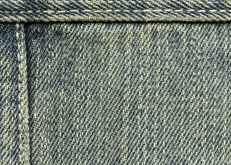 seams: old and worn blue denim texture, seams Stock Photo
