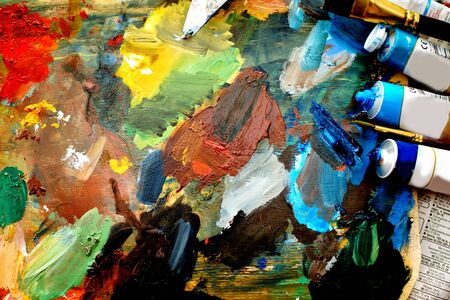 canvas, brushes, paints, palette. A set of drawings for photo
